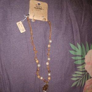Jewelry - Semi precious stones boho earrings and necklace
